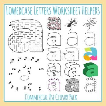 Letter A (Lowercase 2) Worksheet Helper Clip Art Set For Commercial Use