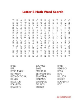 Letter B Math Word Search