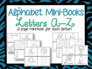 Alphabet Mini-Books Learning Letters A-Z