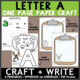 Letter A One Page Paper Crafts - Antlers and Alligator