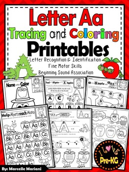 Pre-KG Alphabet Worksheets- LETTER Aa Printables- Tracing, coloring, recognition
