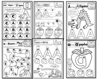 pre kg alphabet worksheets letter aa printables tracing coloring recognition. Black Bedroom Furniture Sets. Home Design Ideas
