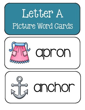 Letter A ~ Picture Word Cards