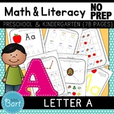 Letter A Math & Literacy Alphabet Activities NO PREP {Color & BW set included}