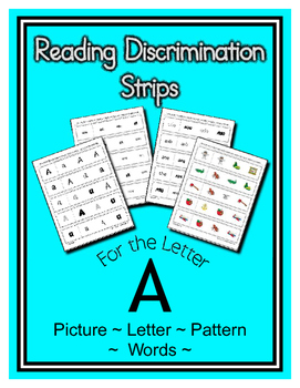 Letter A Reading Discrimination Strips for Fluency and Letter Recognition