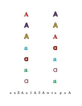 Letter A Recognition Draw a Line Match Trace Color Pick-out