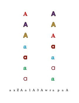 Letter A Recognition Draw a Line Match Trace Color Pick-out