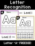 Letter A Recognition Worksheet FREEBIE!