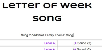 Letter of the Week Song