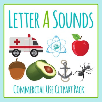 Letter A Sounds Clip Art Pack for Commercial Use