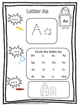 "Letter ""A"" Trace it, Find it, Color it.  Preschool printable worksheet. Daycare."