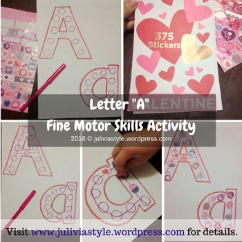 """Letter """"A"""" Upper and Lowercase Fine Motor Skills Activity"""