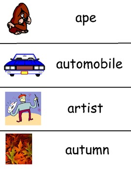 Letter A Vocabulary Cards