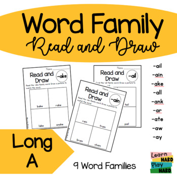 Long A Word Family Read and Draw- Pack 2
