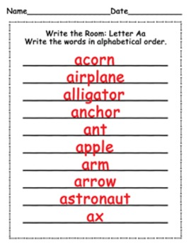Letter A Words Write the Room Activity