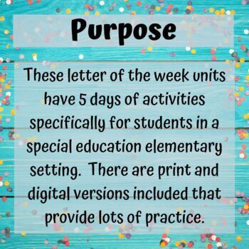 A-Z Letter of the Week Bundle Unit for Special Education
