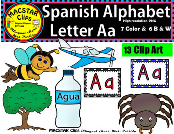 Letter A a Spanish Alphabet Clip Art  Letra A a  Personal and Commercial Use