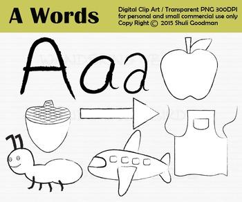 Letter A clip art set, begining sounds clipart