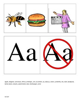 Letter A picture sorts