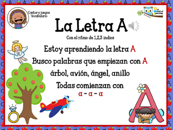 Letter A song in Spanish   Cancion en Español para la letra A