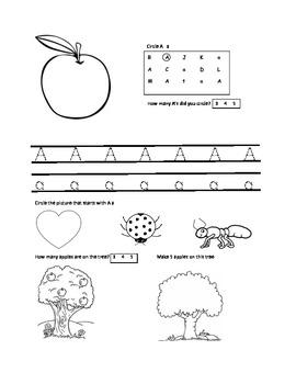 Letter A worksheet for pre-k through kindergarten
