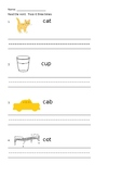 Letter Cc reading CVC words and writing