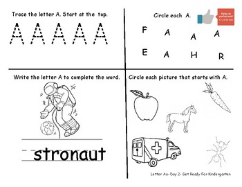 Letter Aa- A week of pre-k practice activitites