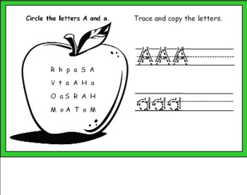 Letter Aa Activity Set for Smart Board