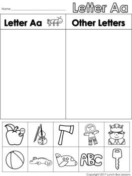 Letter Aa Beginning Sound Sort/Phonemic Awareness