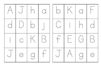 Letter Aa-Jj Bingo