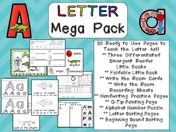 Letter Aa Mega Pack- Kindergarten Alphabet- Handwriting, Little Books, and MORE!