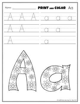 FREE Letter Aa Printing and Pattern Coloring Worksheets