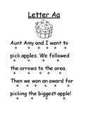 Letter Aa Reading Page