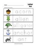 Letter Aa Trace the Words Worksheets Preschool/Kindergarten