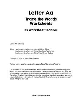 Letter Aa Trace the Words Worksheets Preschool/Kindergarten