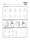Letter Aa Tracing Practice and Patterns Worksheet Preschool/Kindergarten