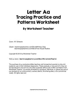 Letter Aa Tracing Practice and Patterns Worksheet Preschool/Kindergarten