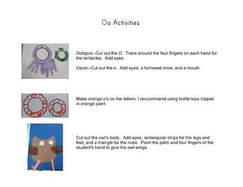 Letter Activities:  Oo