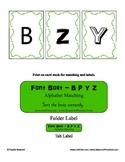 Letter Alphabet Font Sorting - B P Y Z - File Folder Game - Reading Center