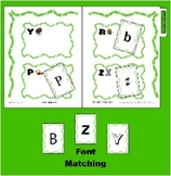 Letter / Alphabet Recognition Game for B P Y Z - Font Sorting - Reading Center