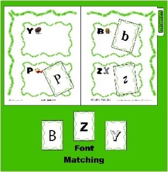 Letter / Alphabet Recognition Game for B P Y Z - Font Sorting - Reading Center