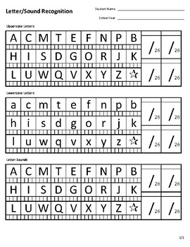 Letter And Sound Recognition Assessment Form