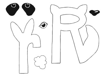 Letter Art Templates: R is for Raccoon and Rabbit~ Upper and Lowercase