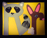 Letter Art Templates: R is for Raccoon and Rabbit~ Upper a