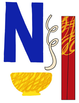 Letter Art Template: N is for Noodles~ Uppercase