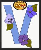 Letter Art Template: V is for Violets