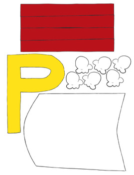 Letter Art Templates: P is for Popcorn by Fox and Bear | TpT
