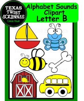 Beginning Letter Sounds Clipart Letter B {Texas Twist Scribbles}