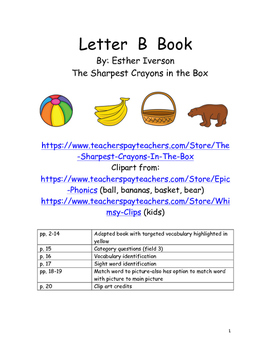Letter B Adapted Book with Word Matching Activities