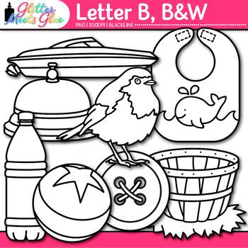 Letter B Alphabet Clip Art {Teach Phonics, Recognition, and Identification} B&W